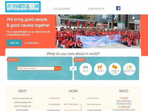 网站制作案例:Hope International Volunteer Group-奇迪科技(深圳)有限公司